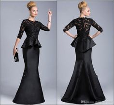 2019 New Black Evening Gowns Sheer Crew High Neck Half Long Sleeves Appliques Lace Beaded Peplum Sheath Formal Dresses Vestido Formales Beaded Evening Gowns, Mermaid Evening Dresses, Formal Evening Dresses, Mother Of Groom Dresses, Mothers Dresses, Half Sleeve Dresses, Tea Length Dresses, Bridesmaid Dresses, Bride Dresses