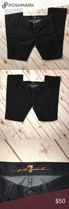 """7 For All Mankind Dark straight leg Denim 7 For All Mankind Dark straight leg Denim. In very good condition. No rips or stains. measurements: waist 27"""", outseam 37"""", inseam 29"""" 7 For All Mankind Jeans Straight Leg"""