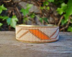 Bracelet manchette ethnique en perles Miyuki - Couleur orange