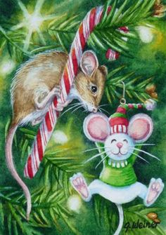 ACEO Limited Edition Print Mouse Christmas Tree Lights Candy Cane by J. Weiner