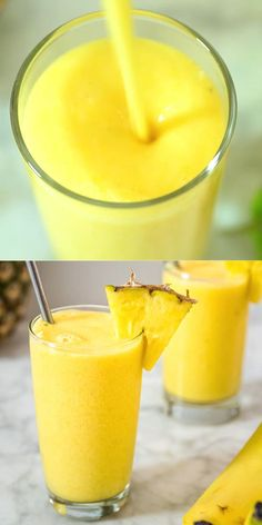 This Tropical Smoothie is easy to make and it tastes incredible. Whether you are looking for a light breakfast or a tasty afternoon treat, you'll definitely enjoy this sunny goodness! This dairy-free smoothie will keep you hydrated and healthy. Visit Co Tropical Smoothie Recipes, Yummy Smoothies, Smoothie Drinks, Yummy Drinks, Healthy Drinks, Healthy Snacks, Breakfast Healthy, Healthy Recipes, Protein Smoothies