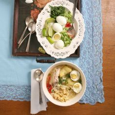 Peruvian Chicken Soup by Saveur. There are all sorts of ways to garnish this popular Peruvian morning dish.