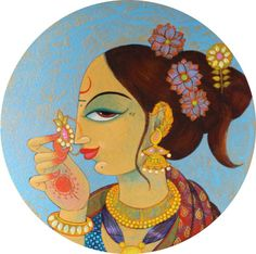 Buy artwork number a famous painting by an Indian Artist Varsha Kharatmal. Indian Art Ideas offer contemporary and modern art at reasonable price. Modern Indian Art, Indian Folk Art, Indian Artist, Pichwai Paintings, Indian Art Paintings, Madhubani Art, Madhubani Painting, Art Inspiration Drawing, India Art