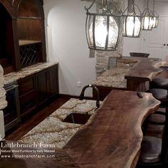 Custom live edge black walnut wood slab bar top handcrafted @littlebranchfarm…