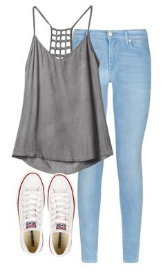 """the back of this shirt"" by morganburleigh ❤ liked on Polyvore featuring 7 For All Mankind, RVCA and Converse"