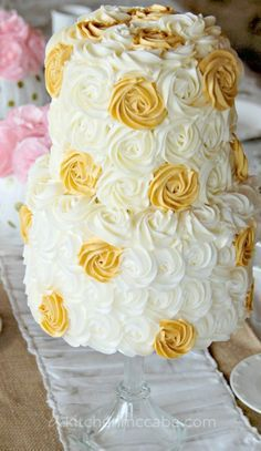 Gold and cream rosette cake