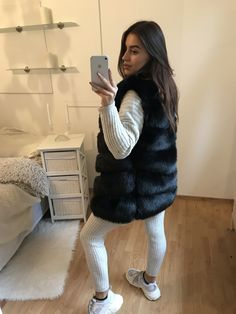 "Short Faux Fur Vest ""ROSA"" - This splendidly shaggy faux-fur vest gives rich, natural-looking depth in a multitude of colors for an everyday layering piece. Artificial Leather, Faux Fur Vests, Short, Winter Fashion, Glamour, Black, Women, Color, Pink"