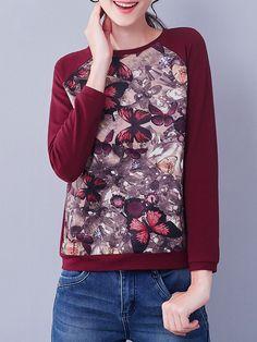 I BELIEVE YOU Wine Red Animal Print Long Sleeve Cotton-blend T-Shirt - AdoreWe.com