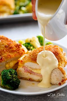 This Homemade Dish Is Crispy And Delicious, Filled With Cheese And Ham. It Is An easy Version Of The Famous French Meal That Is Ready In About One Hour. . Chicken Cordon Blue Sauce, Cordon Bleu Sauce, Mustard Sauce For Chicken, Easy Chicken Cordon Bleu, Cream Sauce For Chicken, Best Chicken Cordon Bleu Recipe, Cheese Sauce For Chicken, Cordon Blue Recipe, Dijon Cream Sauce