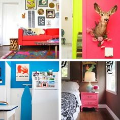 Transform Your Home with Color! Apartment Therapy Video Roundup. --- I like the idea of using the rule of 80/20 when it comes to using colors, because i get overwhelmed by too much colors! Using 20% of the home space with some pop of colors sound great.