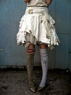 Post-Apocalypse/Disaster: Ooooh. Shredding layered skirts and mismatched socks, with super scuffed-up shoes.