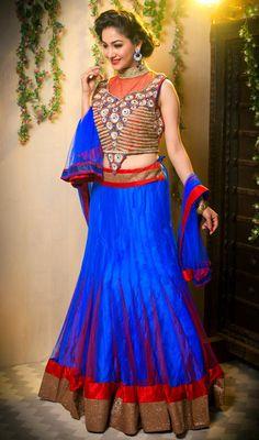 Red and Royal Blue Net Lehenga Choli Price: Usa Dollar $272, British UK Pound £159, Euro201, Canada CA$ 292, Indian Rs14688.