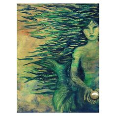 Mermaid, A4 Fine Art Mythological/Folktale Painting Print ($20) ❤ liked on Polyvore featuring home, home decor, wall art, ink painting, mermaid painting, photo wall art, metallic wall art and mermaid home decor