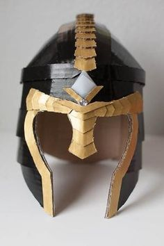 DIY Cardboard Warrior Helmets by marianne