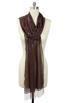 Scarves by Saachi Beaded wrap in chestnut