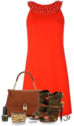 """""""Olive and Coral"""" by exxpress on Polyvore"""