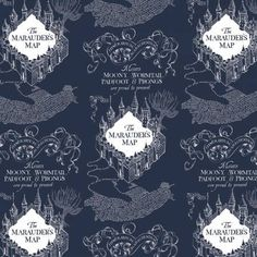 Harry Potter Fabric FLANNEL Wizarding World Marauder's Map in Navy Blue From Camelot Premium Quality Flannel Harry Potter Stoff, Harry Potter Fabric, Harry Potter Marauders Map, The Marauders, Map Fabric, Magnificent Beasts, Harry Potter Collection, Tablet Cover, Amazon Art
