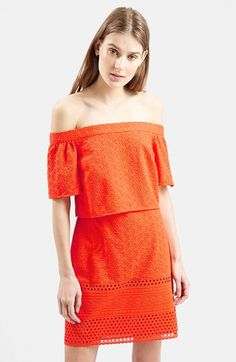 Topshop+Embroidered+Off+the+Shoulder+Dress+available+at+#Nordstrom