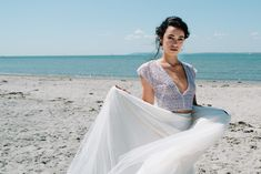 Deep V front mesh short sleeved crop top with ivory tulle skirt. romantic elegant beach bride inspiration with Concept, Planning & Styling by The W Studio and Photography by Veronika Ward. Wedding Skirt, Wedding Bride, Bridal Separates, Photographic Studio, Bridal Looks, Weddingideas, Wedding Styles, Tulle