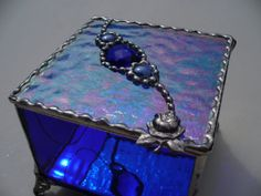 Items similar to Twice as Deep - Cobalt Blue and Clear Iridescent Stained Glass Jewelry Box with Cobalt Faceted Jewel and Glass Nuggets - Rose Stem Handle on Etsy Kind Of Blue, Love Blue, Blue And White, Cobalt Glass, Cobalt Blue, Dining Room Blue, Himmelblau, Fenton Glass, Duck Egg Blue