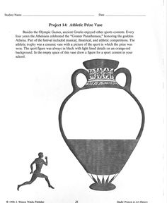 greek art lesson - i hate worksheets, but this is actually good for brainstorming... give students only 5-8 minutes to complete a sketch as a warm up for the actual project