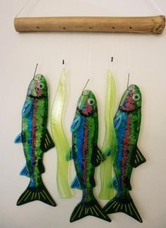 This fused glass wind chime featues 3 Rainbow trout hanging from fish hooks. Windchime measures 9 x Fused Glass Jewelry, Fused Glass Art, Glass Wall Art, Stained Glass Art, Glass Fusing Projects, Kiln Formed Glass, Stained Glass Ornaments, Glass Wind Chimes, Rainbow Trout