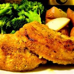 Oven-Fried Pork Chops Allrecipes.com.....this is so easy and so delicious! I used chicken flavored stuffing mix instead of herb. I dipped the pork in plain flour first, then I dipped it into the egg mixture and then I dipped it into the stuffing mix. I cooked the meat for 15 mins first then flipped the pork and continued to bake it for 12 to 15 more minutes. Yummmmo!!!!!