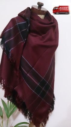 Burgundy Blanket scarf, Plaid blanket scarf, maroon blanket scarf Winter fashion Colors combinition Burgundy Black and striped light blue  Blanket