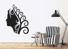 Wall Sticker Vinyl Decal Spa Salon Hairstyle Makeup Curls Beautiful Lady (n285)