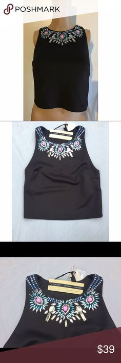"""BNWT Topshop limited edition  jeweled crop top 2 Purchased in London. Limited edition. Brand new, never worn. Approx 28"""" bust, 17"""" length. 95% poly, 5% elastane. Topshop Tops Crop Tops"""