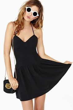 Nasty Gal One Wish Dress............... The cutest black halter dress featuring sweetheart neckline and pleated detailing at waist. Zip closure at side, unlined. Low scoop back. By Nasty Gal.