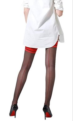 HongH Sexy Sheer Back Seam Stockings - See more tights at www.fashion-tights.net ‪#tights #pantyhose #hosiery #nylons #fashion #legs‬ #legwear #advertising #influencer #collants