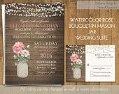 Mason Jar with Roses Rustic Wedding Invitations - Soft Blush Pink Coral Roses | Barn Rustic Wedding InvitationsWoodgrain Digital Printable