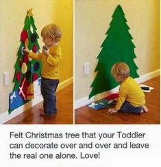 Felt christmas tree for children to decorate over and over again.