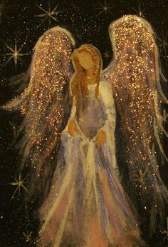 Acrylic painting by Cape Cod artist Breten Bryden, specializing in coastal, animal and angel art, also Antique Map colorationReally liking these glitter angel paintingsAngel with sparkly gold wings.The Angelic Realm.The Angel of Henderson (Christy Ly Christmas Paintings, Christmas Art, I Believe In Angels, Angel Pictures, Angel Images, Angels Among Us, Guardian Angels, Painting Inspiration, Painting & Drawing