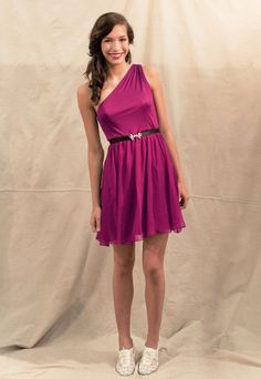 Lovely with straps tea-length bridesmaid dress Love the simplicity and the shoes! My girls would wear bras though :P