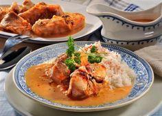 Králík v pražské omáčce Thai Red Curry, Stew, Ham, Shrimp, Food And Drink, Treats, Chicken, Ethnic Recipes, Europe