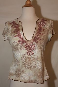 ANXIETY SZ S BEIGE BROWN WHITE BEADED DRESS TOP SHIRT BLOUSE CAP SLEEVE PAISLEY  #Anxiety #Blouse #Casual