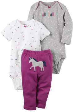 Carter's Baby Girls' Unicorn Set 18 Months: She will look adorable in this three piece majestic unicorn-themed outfit set from Carter's. Carters Baby Girl, Baby Girl Newborn, Baby Boy, Newborn Care, Fashion Kids, Baby Outfits, Kids Outfits, Baby Girl Purple, Autumn Clothes
