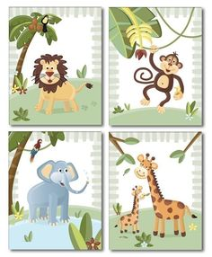 Jungle Animals / Set of 4 Art Prints for Nursery by smileywalls. $24.90, via Etsy.