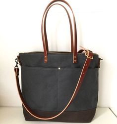 8accd2d2d5 Modern Coup Carrier Tote with added 2 front pockets. Waxed Canvas and  Leather. Waxed