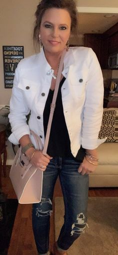 Style a White Denim Jacket & Brighten Up Your Look - Beverly Ennis Hoyle Clothes Basket, Work Clothes, Look Fashion, Spring Fashion, Fashion Ideas, Check Coat, Spring Jackets, White Denim, Cropped Pants