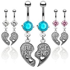 2pc Set - Best Friends - BFF Dangle Navel Ring (Belly / Body Jewelry) Pink, Blue or Clear CZ Price: $16.09 http://www.shareasale.com/m-pr.cfm?merchantID=36679&userID=856296&productID=546096985