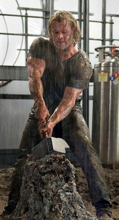 """""""Whosoever holds this hammer, if he be worthy, shall possess the power of Thor."""" Dear God, look at those ARMS! I'm not generally a beefcake kind of girl, but COME ON! Those you have got to respect!"""