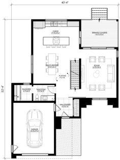 Building Plans, Building Design, Plane, Modern Lake House, Garage, Architecture Plan, My House, Kitchen Design, House Plans