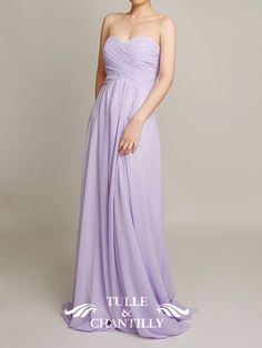 lilac wedding color ideas - Long Lilac Sweetheart Strapless Bridesmaid Dress