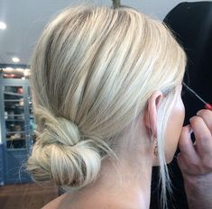 50 Beautifully Elegant Chignon Hairstyles Knotted low bun by Riaw. - 50 Beautifully Elegant Chignon Hairstyles Knotted low bun by Riawna Capri - Bridal Ponytail, Chignon Hair, Ponytail Hairstyles, Wedding Hairstyles, Elegant Hairstyles, Low Chignon, Short Hair Bridesmaid Hairstyles, Low Bun Wedding Hair, Wedding Hair And Makeup