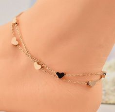 Heart anklet bracelet solid 925 sterling silver jewelry gift women yellow plated Solid sterling silver 925 ankle bracelet leg anklet Heart Love Valentine's Day - My Accessories World Ankle Jewelry, Cute Jewelry, Body Jewelry, Jewelry Gifts, Jewelry Accessories, Jewelry Necklaces, Gold Bracelets, Gold Jewellery, Cheap Jewelry
