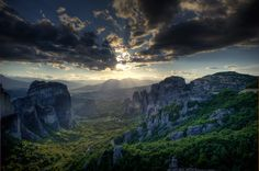 View of Meteora at sunset, Thessaly,Greece