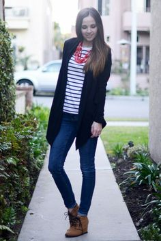 The Dos and Dont's of Wearing Cardigans:  Wear a wrap cardigan with dark jeans or pants: